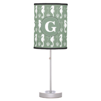 Seahorse and Shell Pattern with Custom Monogram Table Lamp