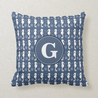 Seahorse and Shell Pattern with Custom Monogram Throw Pillow