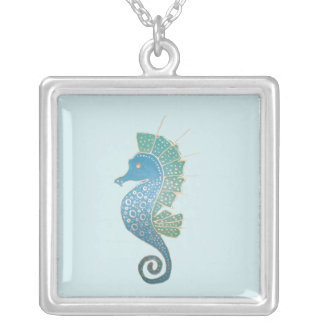 Seahorse Artwork Silver Plated Necklace