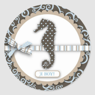 Seahorse Baby Boy Square Classic Round Sticker