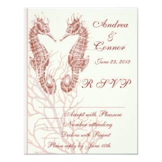 Seahorse beach brown wedding RSVP Card
