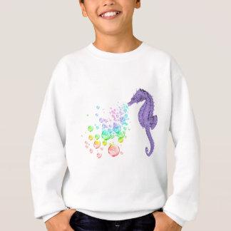 seahorse blowing rainbow bubbles sweatshirt