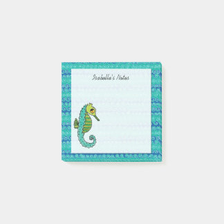 Seahorse Blue and Green Personalized 3 x 3 Post-it Notes