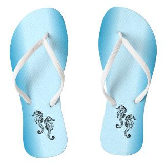 Seahorse Blue Flip Flops