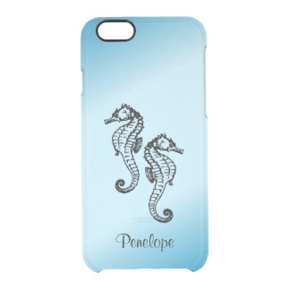 Seahorse Blue Personalized Custom Clear iPhone 6/6S Case