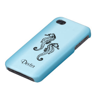 Seahorse Blue Personalized Custom iPhone 4 Cases