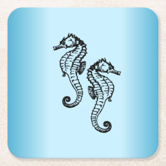 Seahorse Blue Square Paper Coaster
