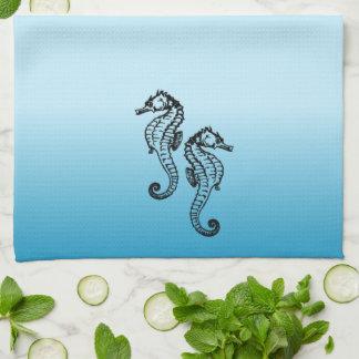 Seahorse Blue Towels