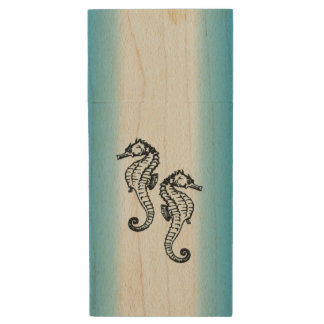 Seahorse Blue Wood USB Flash Drive