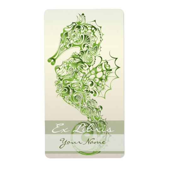 Seahorse Book Plate 7 - Green Shipping Label