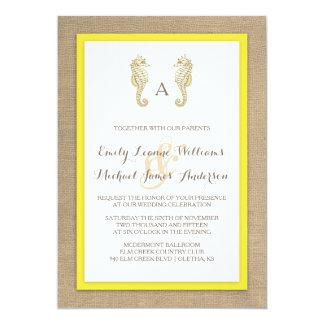 Seahorse Burlap Beach Tropical Wedding Invitation