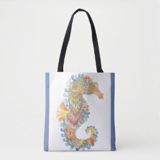 Seahorse celebrates carnival tote bag