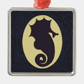 Seahorse Christmas Silver-Colored Square Ornament