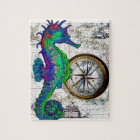 Seahorse Compass Collage Jigsaw Puzzle