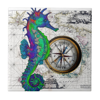 Seahorse Compass Collage Tile