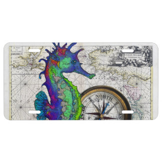 Seahorse Compass License Plate