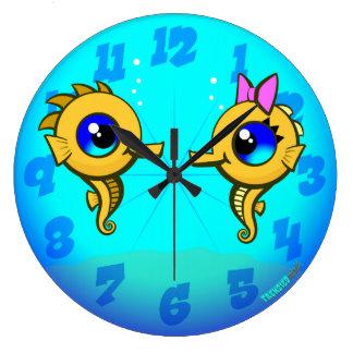 Seahorse Couple Large Clock