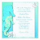 Seahorse Couple Ombre Aqua Wedding Card