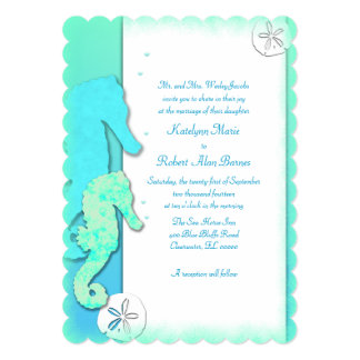 Seahorse Couple Wedding Parents Inviting Card