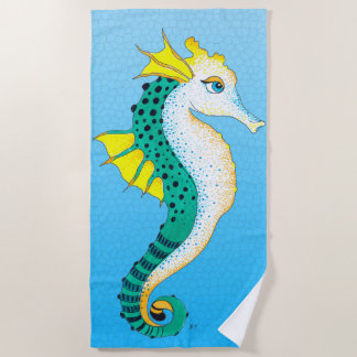 Seahorse Cute Teal Stained Glass Blue Beach Towel