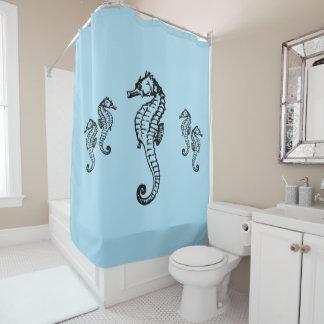 Seahorse Design on Blue Shower Curtain