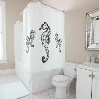 Seahorse Design on White Shower Curtain