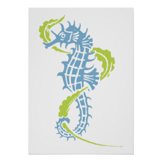 Seahorse dusk blue, lime green and seaweed poster