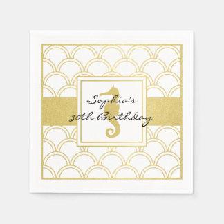 Seahorse Faux Gold Nautical Modern Birthday Party Paper Napkin