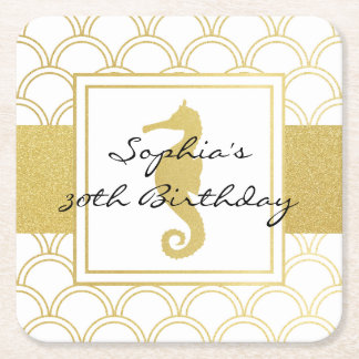 Seahorse Faux Gold Nautical Modern Birthday Party Square Paper Coaster
