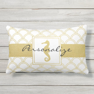 Seahorse Faux Gold Nautical Pattern Modern Chic Outdoor Pillow