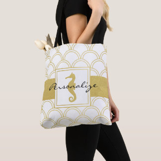 Seahorse Faux Gold Nautical Pattern Modern Chic Tote Bag