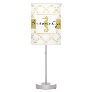 Seahorse Faux Gold Retro Nautical Pattern Modern Table Lamp