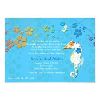 Seahorse Floral Rehearsal Dinner Party Invitation