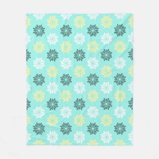Seahorse Flowers Aquamarine Fleece Blanket