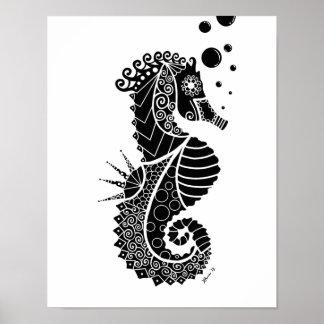 Seahorse Illustration Poster
