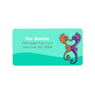 Seahorse Kiss Off-Leash Art™ Personalized Label