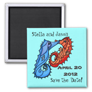 Seahorse kisses save the date magnet