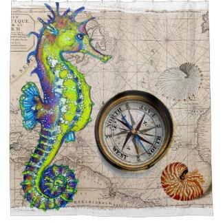 Seahorse Lime Compass Nautical