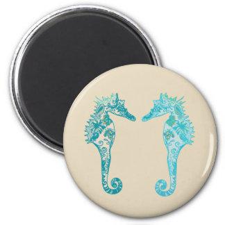 Seahorse mandala art  Round Magnet