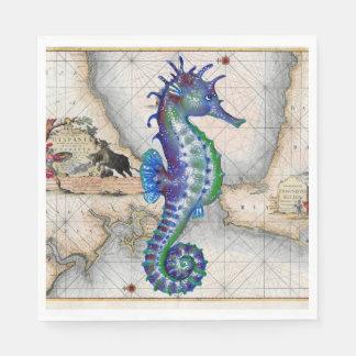 Seahorse Map Gibraltar Paper Napkin
