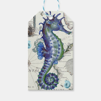 Seahorse Map Vintage Blue Pack Of Gift Tags