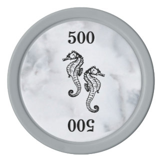 Seahorse Marble Poker Chips