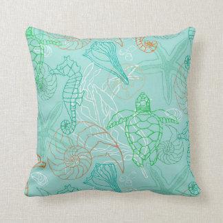 Seahorse Melody in Aqua, Green & Orange Throw Pillow