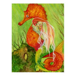 Seahorse mermaid fantasy Postcard