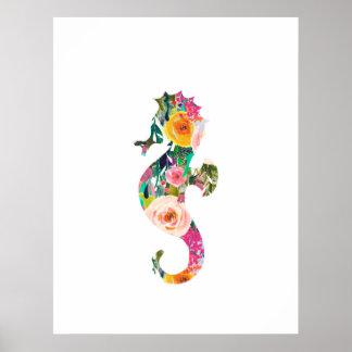 Seahorse nautical wall print nursery art