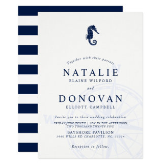 Seahorse Nautical Wedding Invitation