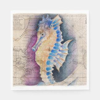 Seahorse old map disposable napkin