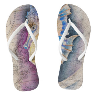 Seahorse old map flip flops