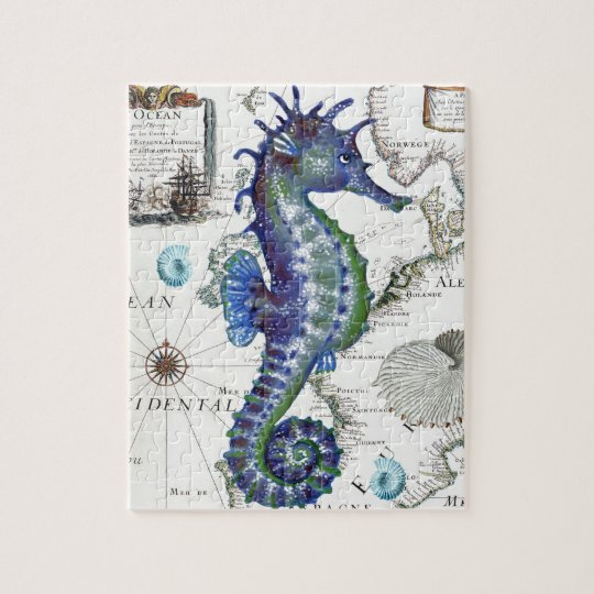 Seahorse Old Map Jigsaw Puzzle