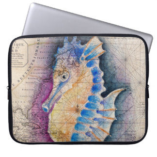 Seahorse old map laptop sleeve